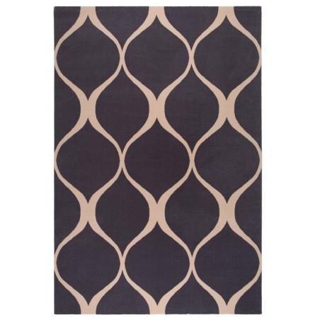 Illusie fekete gyapjú szőnyeg vonalakkal - 1