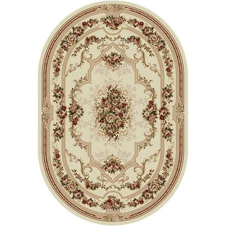 Krém / bézs virágmintás szőnyeg - 1