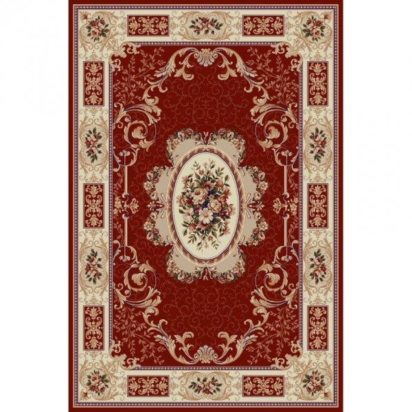 Vörös szőnyeg virágokkal és geometriai mintákkal 542 - 1
