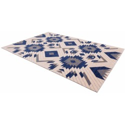 Halioka gyapjú szőnyeg kék formákkal - 2